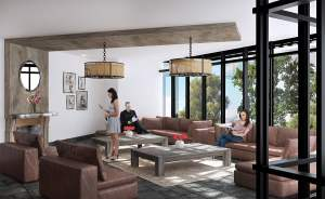 Rendering of SweetLife Condos and Towns lobby