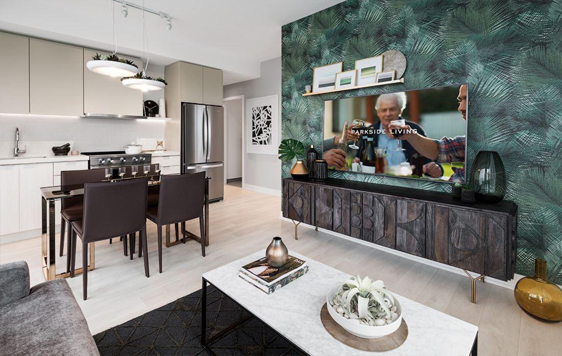 Hillmont at SXSW Model Suite living room open concept