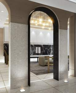Crest Condos interior lobby architectural details