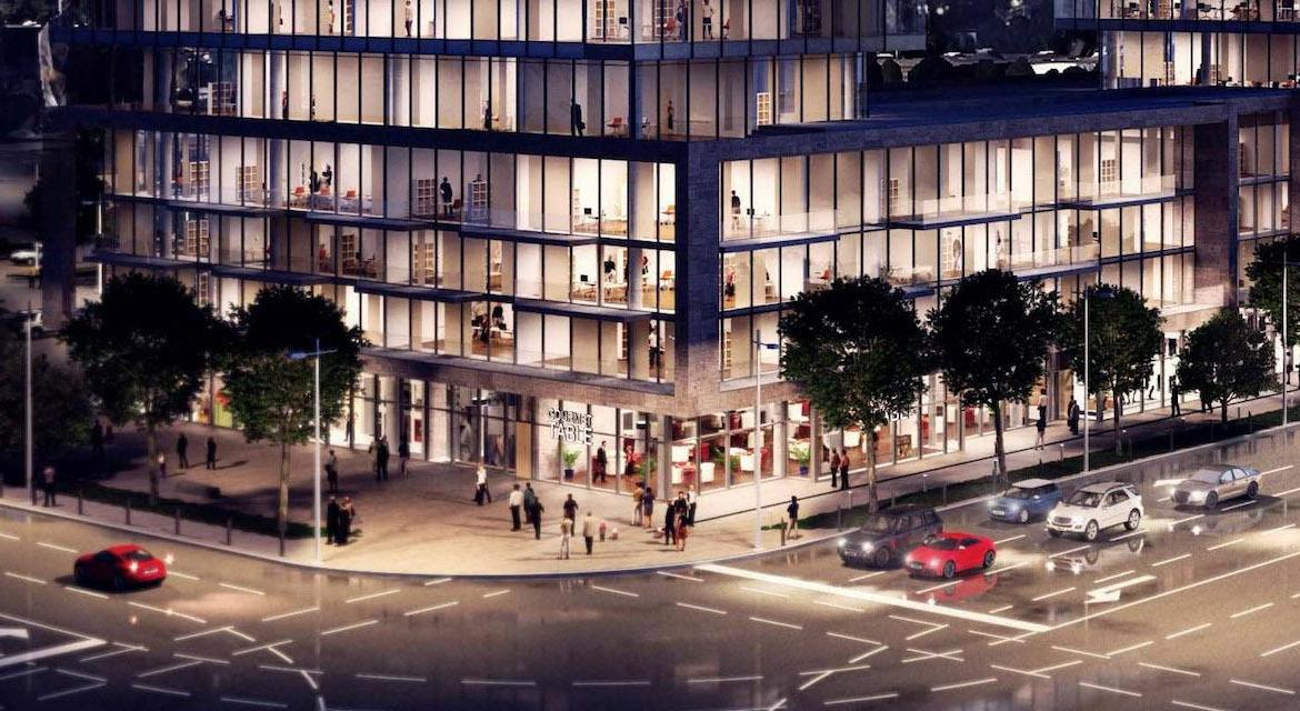 Rendering of Verge Condos streetscape at night.