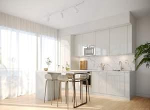 Rendering of Brightwater The Mason suite interior kitchen standard