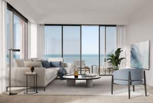 Rendering of Brightwater The Mason suite interior living room