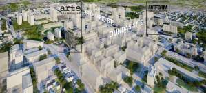 Aerial rendering of Artform and Arte Condos in Cooksville