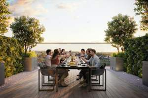 Rendering of Arte Condos outdoor private dining