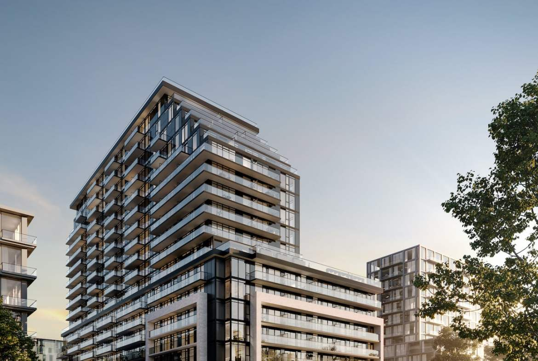 Rendering of Arte Residences exterior corner with BRT