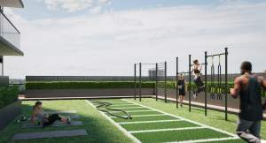 Rendering of Arte Residences outdoor fitness centre