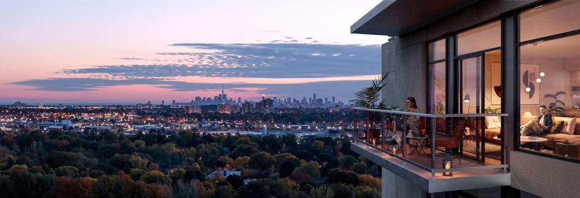 Rendering of ELLE Condos balcony view in the evening