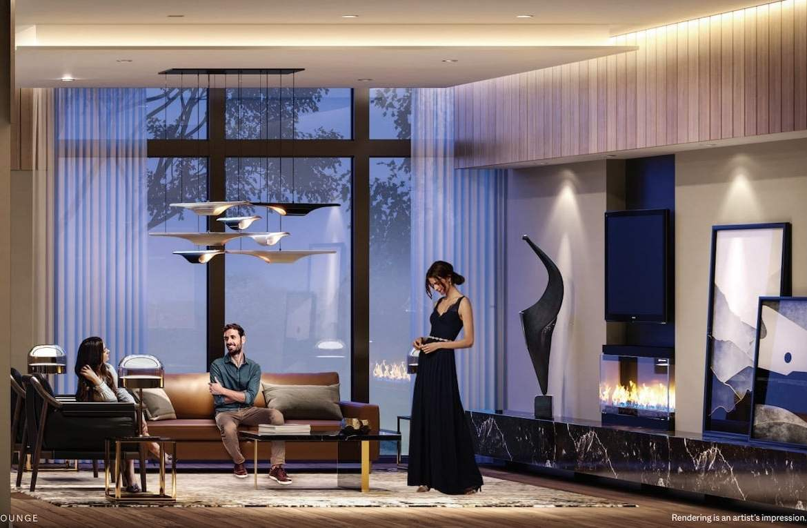 Rendering of ELLE Condos party room with fireplace