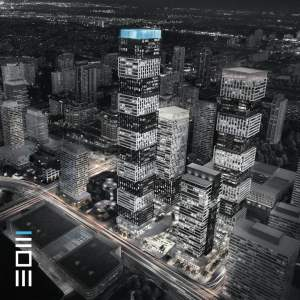 Aerial of Exchange District 3 Condos in Mississauga
