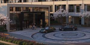 Rendering of The Millhouse Condos of entrance with car drop-off