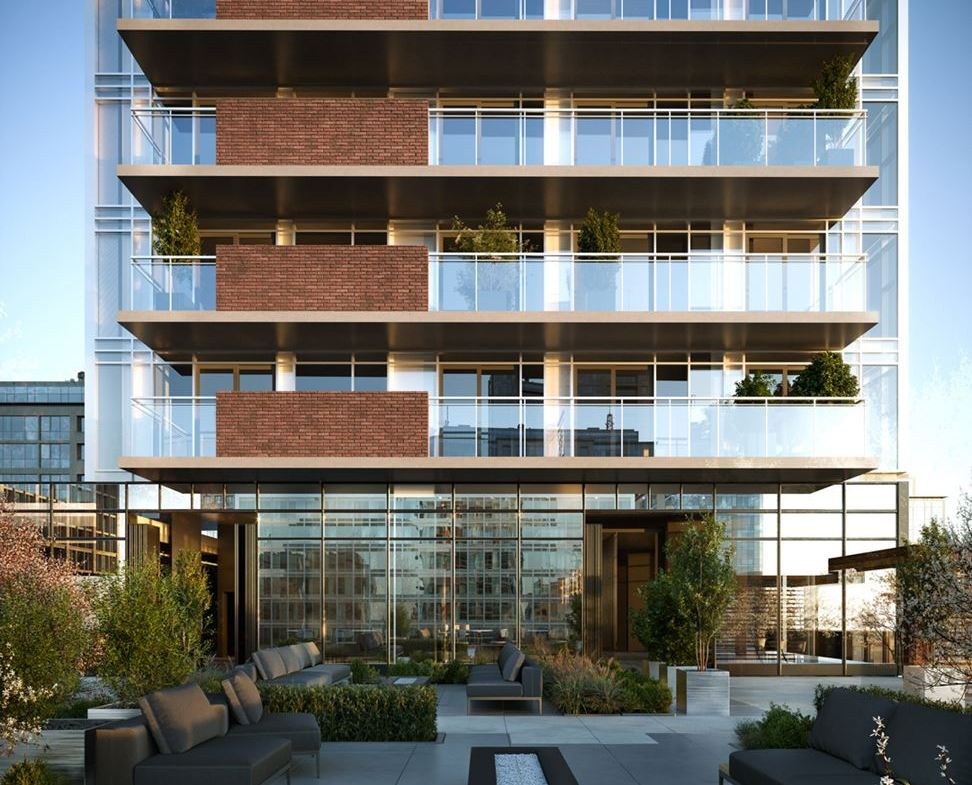 Rendering of The Moderne Condos exterior with outdoor amenities