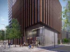 Rendering of 241 Richmond Condos exterior street-level retail