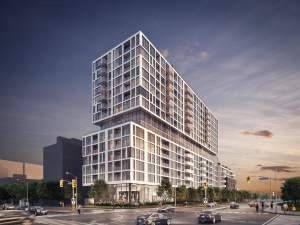 Rendering of 3431 St Clair Ave Condos exterior at night