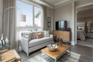 Rendering of Soleil Condos interior living room