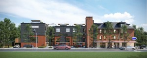 Rendering of West Six Urban Towns exterior
