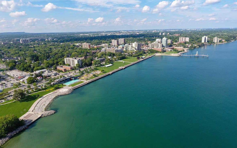 Downtown Burlington and waterfront aerial at Martha James Condos