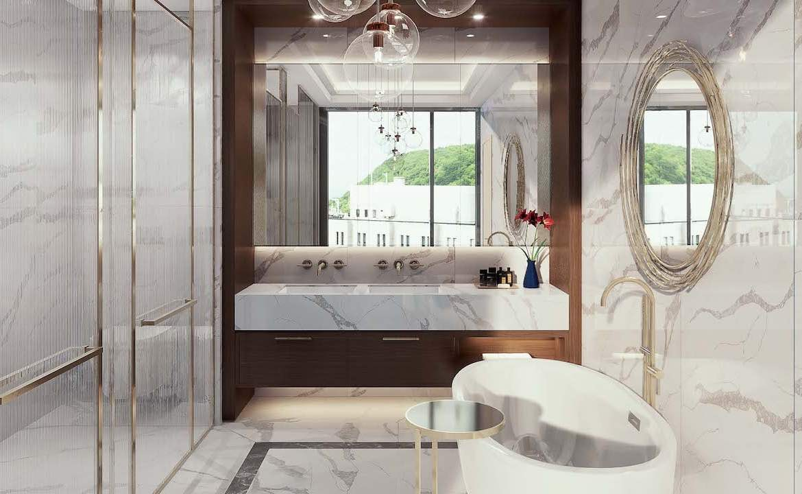 Rendering of Le Sherbrooke Condos penthouse primary bathroom interior