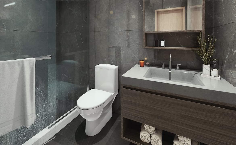 Rendering of Le Sherbrooke Condos suite interior primary bathroom