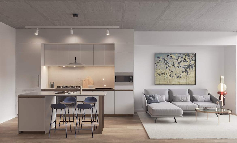 Rendering of Leaside Common suite living room interior