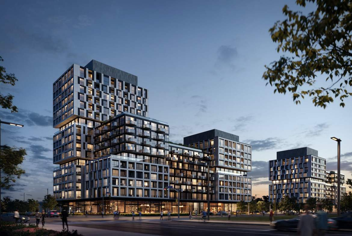 Rendering of Verge phase 1 and 2 Condos exterior at night