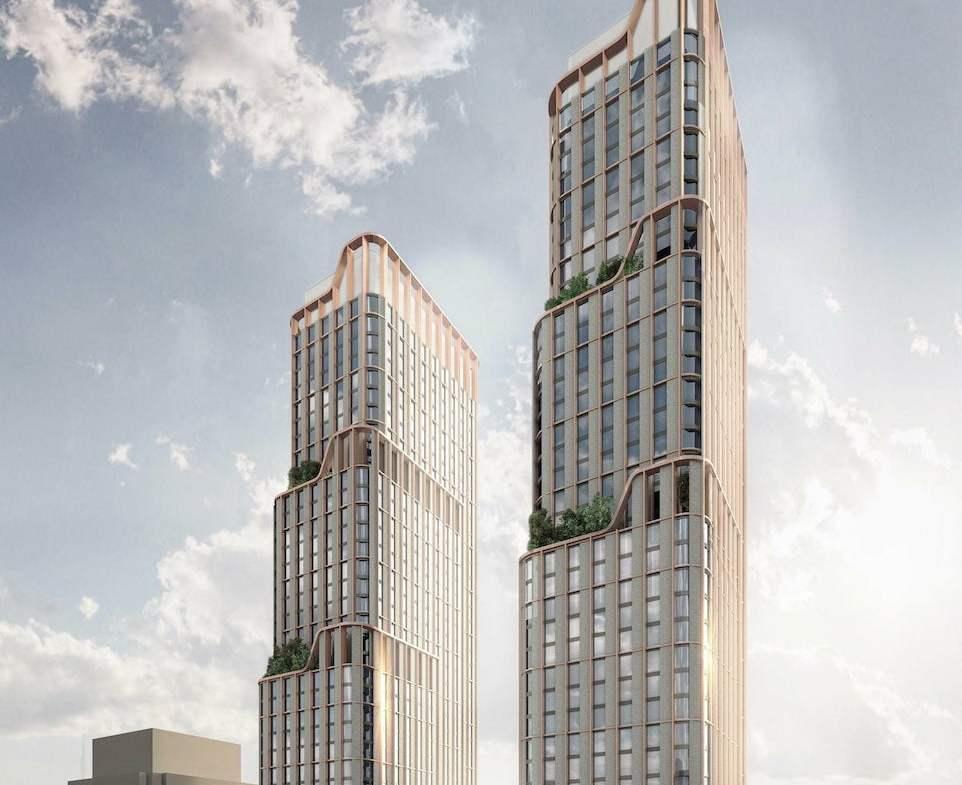 Rendering of 475 Yonge Street Condos two towers full