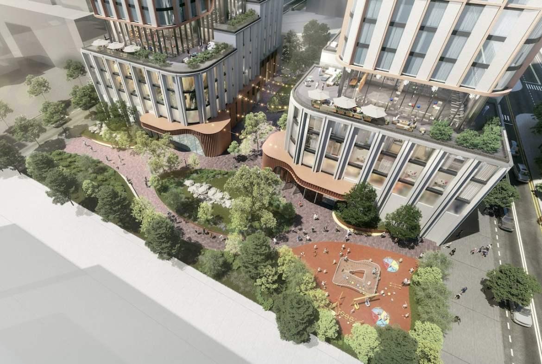 Rendering of 475 Yonge Street Condos exterior aerial of outdoor green space