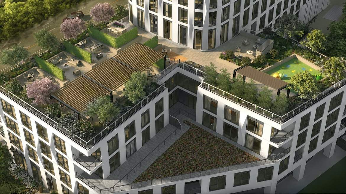 Rendering of Westerly Condos aerial terrace view
