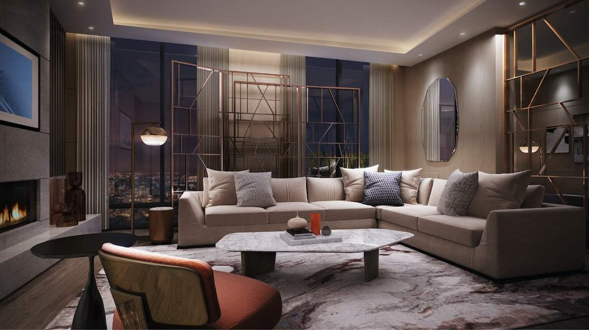 Rendering of Westerly Condos party room with fireplace
