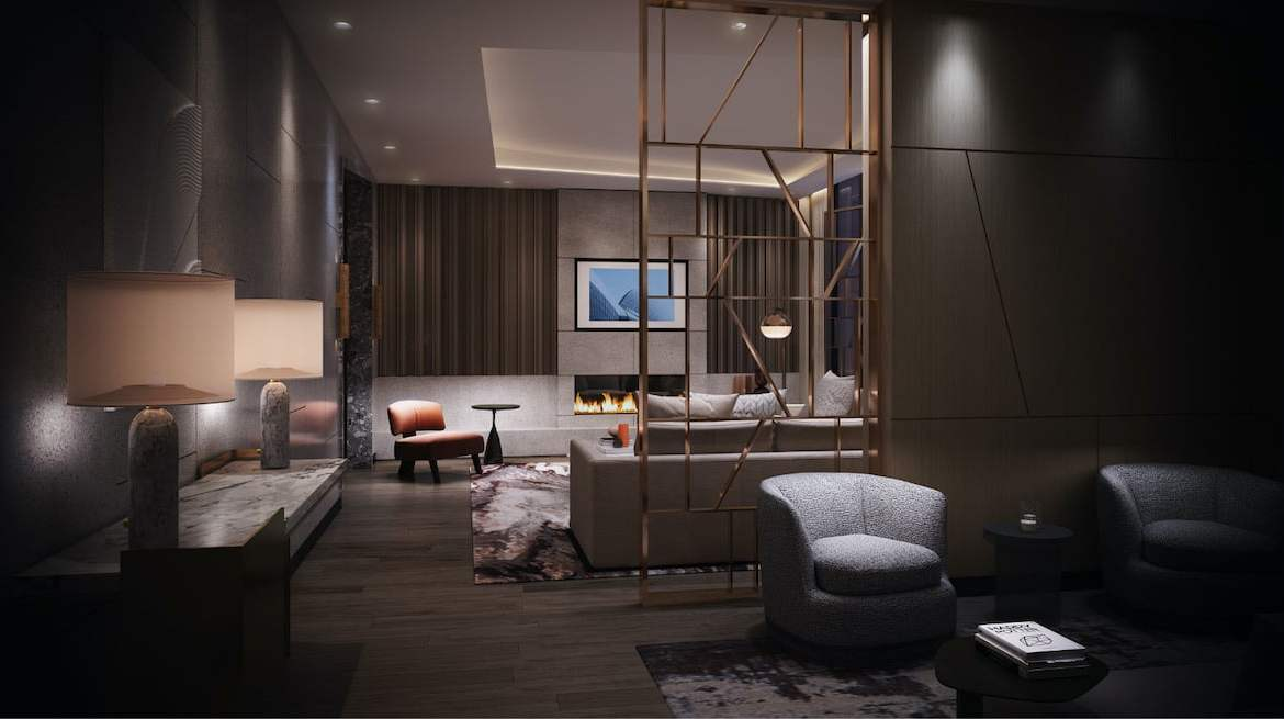 Rendering of Westerly Condos party room at night