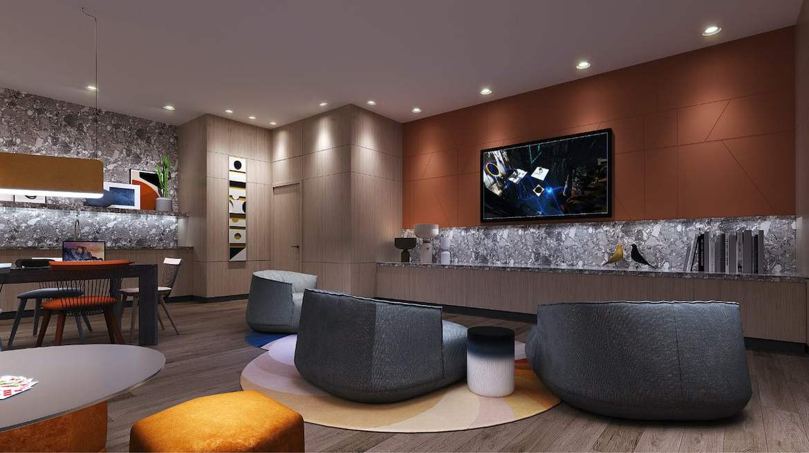 Rendering of Westerly Condos party room event space