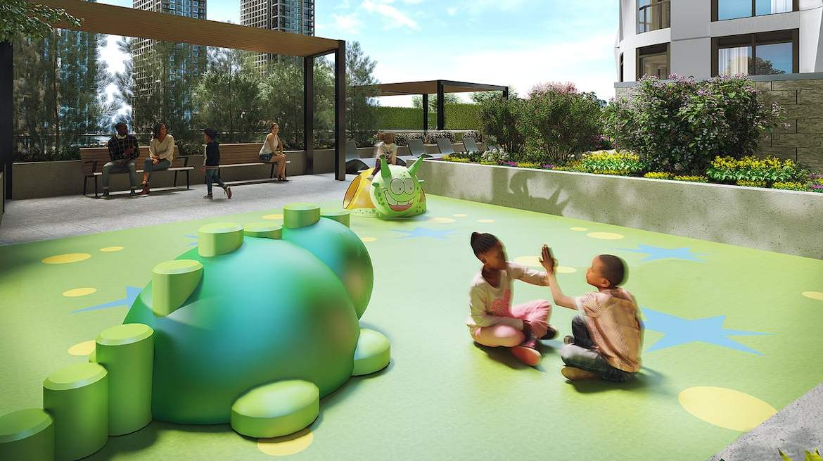 Rendering of Westerly Condos kids play area during the day
