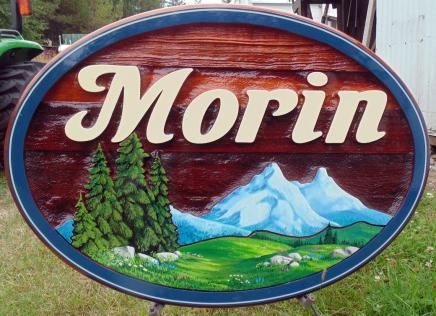 Morin,residential sandblasted cedar sign,farm,ranch acreage,custom made cedar sign,Louis Creek BC,Artist painted,user friendly website,Condor Signs Vernon Bc