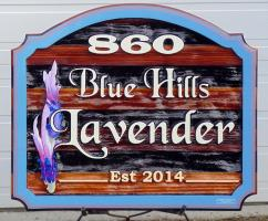 sandblased custom made arist painted business sign for Blu Hills Lavender Armstrong BC.