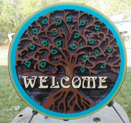 Celtic tree,residential sandblasted cedar sign,Swift current Sask.,sign for the patio,porch,or house,custom made,hand crafted,artist painted,Condor signs Vernon BC.