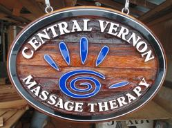 central vernon massage therapy custom made artist painted cedar sandblasted sign for new location