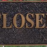 closed bronzr plaque by Condor Signs Vernon BC