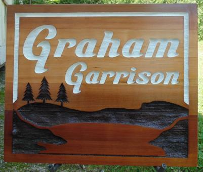 Graham Garrison,residential sandblasted cedar sign,Alberta cedar sign,economical style,Condor Signs Vernon BC,Farm and ranch,Custom made sand blasted sign