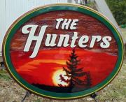 The Hunters,residential sandblasted cedar sign, wedding sign,wedding,gift, Yellowknife,Artist painted cedar sign,Condor Signs,Vernon BC,