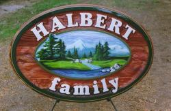 Custom cedar wood sign sandblasted and artist painted wedding sign by CondorSigns