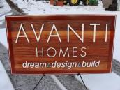 custom cedar sandblasted business sign