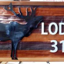 Custom cedar wood sign for elks lodge 314 YellowKnife