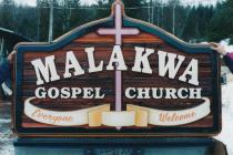 Malakwa Gospel Church custom handcrafted artist painted sandblasted cedar sign
