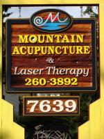 Mountain Acupuncture and Laser Therapy Vernon BC,business sign by condor signs vernon bc,sand blasted cedar all handcrafted and artist painted