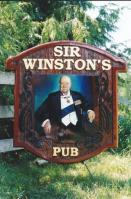 sir winstons pub sign hand crafted and artist painted by Condor signs Vernon BC,business signs for pubs bars lounges restaraunts night clubs made from cedar