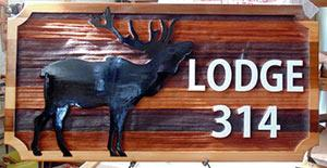 Elks Lodge 314 YellowKnife,sand blasted cedar sign by Condor signs Vernon BC,charitable endeavors,scholarships,