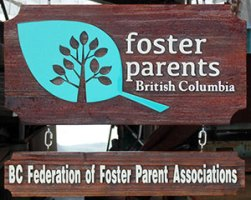 Foster Parents of british Columbia sand blasted cedar sign for head office,artist painted hancrafted by Condor signs Vernon BC,Vancouver, Kelowna