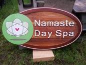 Namaste Day spa Kelowna BC quality sandblasted cedar sign,custon made for business,spa, hair salon,wellness center,massage therapy,health food store,