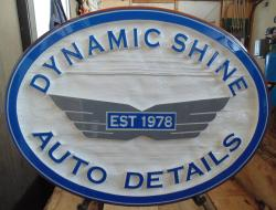 Sandblasted business sign for dynamic shine Vancouver BC quality auto detailing since 1978