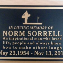 "Bronze memorial plaque ""Norm Sorrell""Prince George BC Custom made by Condor signs Vernon BC"