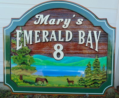 Sand blasted custom designed and hand crafted cedar sign for Mary's emerald bay 8 on the Okanogan Indian Band reserve Vernon BC Canada.Condor Signs supports first nations